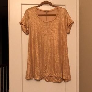 Anthropologie rose gold tunic tee